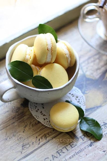 Lemon Macarons | More foodie lusciousness here: http://mylusciouslife.com/photo-galleries/wining-dining-entertaining-and-celebrating/