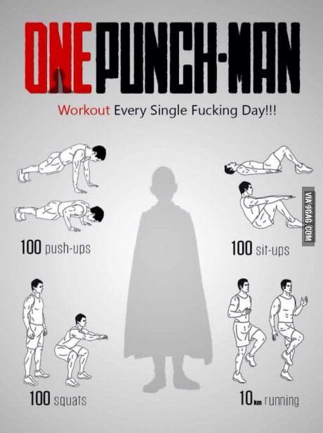 Saitama,workout routine. | One punch man workout ...
