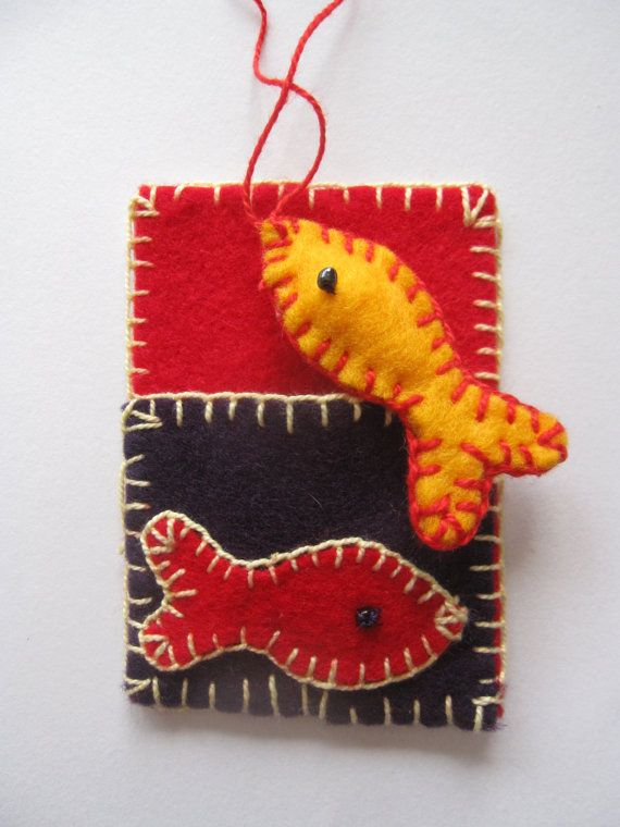 Felted, hand stitched original aceo with a little fish in pocket