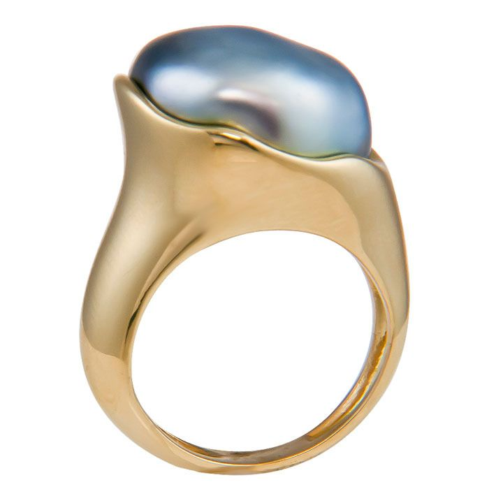 Elsa Peretti for Tiffany & Co. Tahitian Pearl Ring | From a unique collection of vintage cocktail rings at http://www.1stdibs.com/jewelry/rings/cocktail-rings/