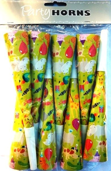 Animals Party Horns Blowers Noisemakers 8 Pack Lion Elephant Owl Bear Fish