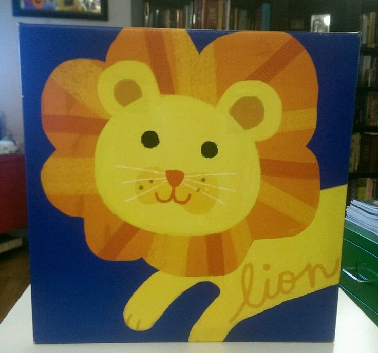 12x12 Square Canvas Lion Picture for Baby Children's Room Blue Yellow Orange #Unbranded