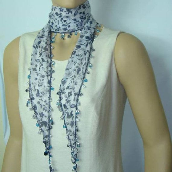 White Beaded Scarf Necklace with Navy Flowers by istanbuloya