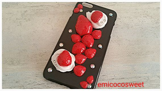 SALE  Kawaii Decoden Strawberry iPhone6 PlusiPhone by emicocosweet