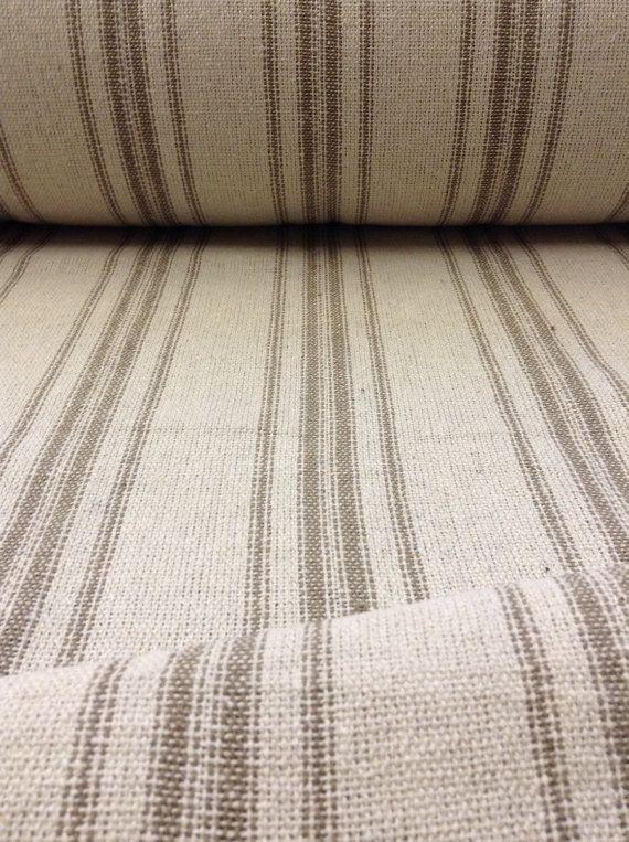 NEW - Reproduction Grain Sack Fabric - Cream Fabric w/12 Tan Stripes