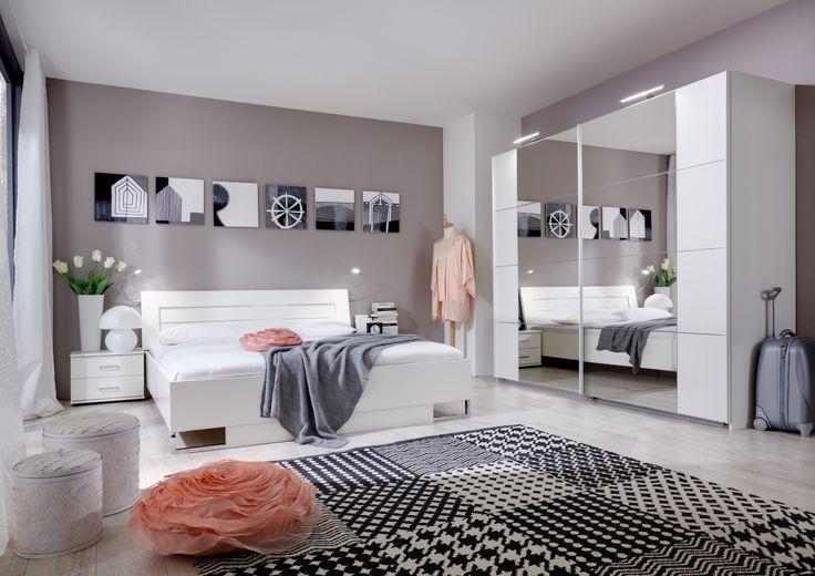 Chambre adulte complète design coloris blanc alpin Mavrick - Chambre adulte complète - CHAMBRE ADULTE - CHAMBRE