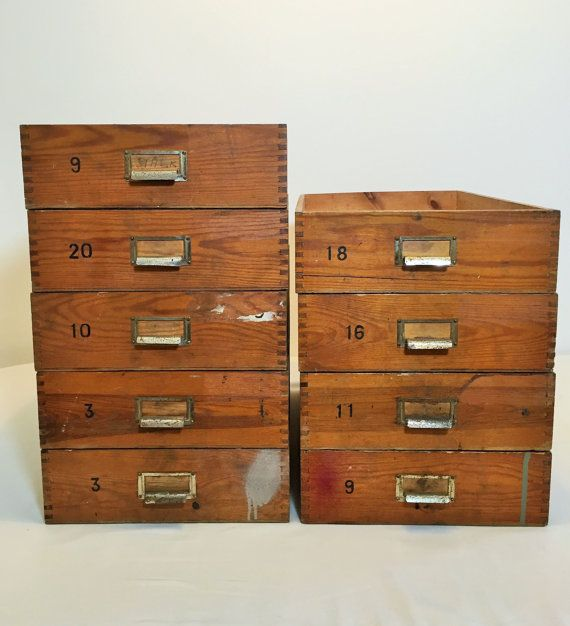 cool vintage wooden storage boxes from a Swedish press with an attractive aged and darkened colour and patina.one and each unique-not perfect-nor