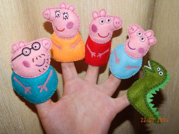 Peppa pig family finger puppets. Felt finger puppets. Finger family. Animal finger puppets. Felt Peppa pig toys. Gift for children. Age 3+