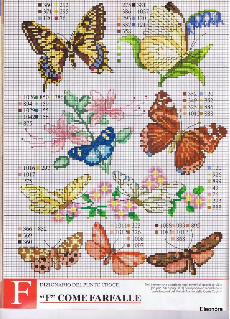 b #punto cruz, #bordado, #mariposa
