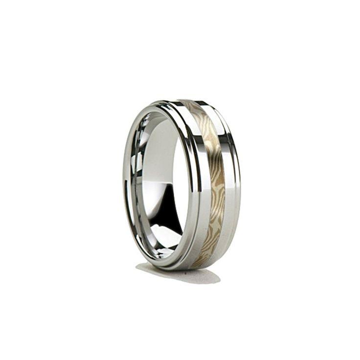 8mm DAVIN Mokume Inlaid Tungsten Jewelry Ring