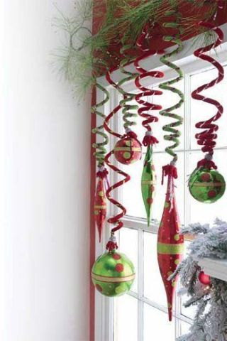Pipe cleaners to hang ornaments for the Dr Seuss look