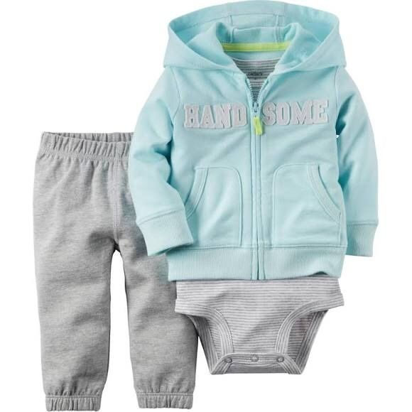 Carter's Infant Boy's Hoodie Jacket sweatpants set Provide ultimate comfort to your little one with the carter's Baby Boy's Blue & Gray 3-Piece Cardigan Set. Featuring nickel free snaps on reinforced panel, which makes changing diapers easy and convenient. This carter's Baby Boy's Blue & Gray 3-Piece Cardigan Set features a no-pinch elastic waistband that offers a perfect fit. Carter's Matching Sets