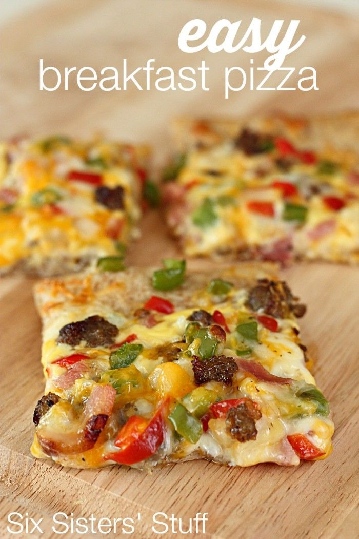 Easy Breakfast Pizza from Six Sisters' Stuff is so easy and delicious! Your kids will love helping decorate the pizza! Yum!