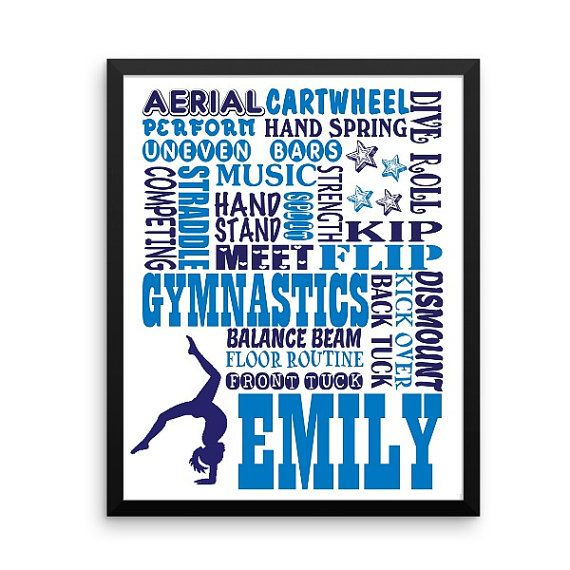 Personalized gymnastics gift, gymnast gift, gymnastics print, team gift, Word changes welcomed, you choose own colors