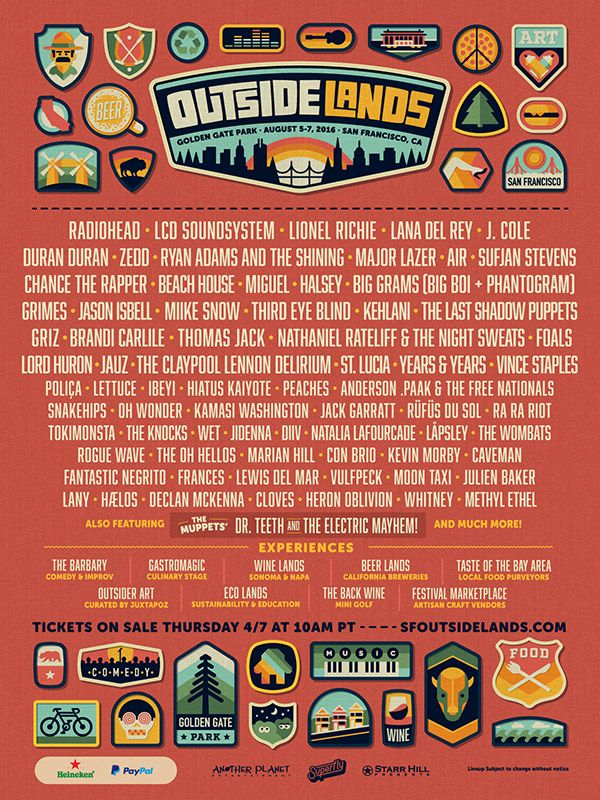 GoAltaCA | 2016 Outside Lands Lineup, Aug. 5-7