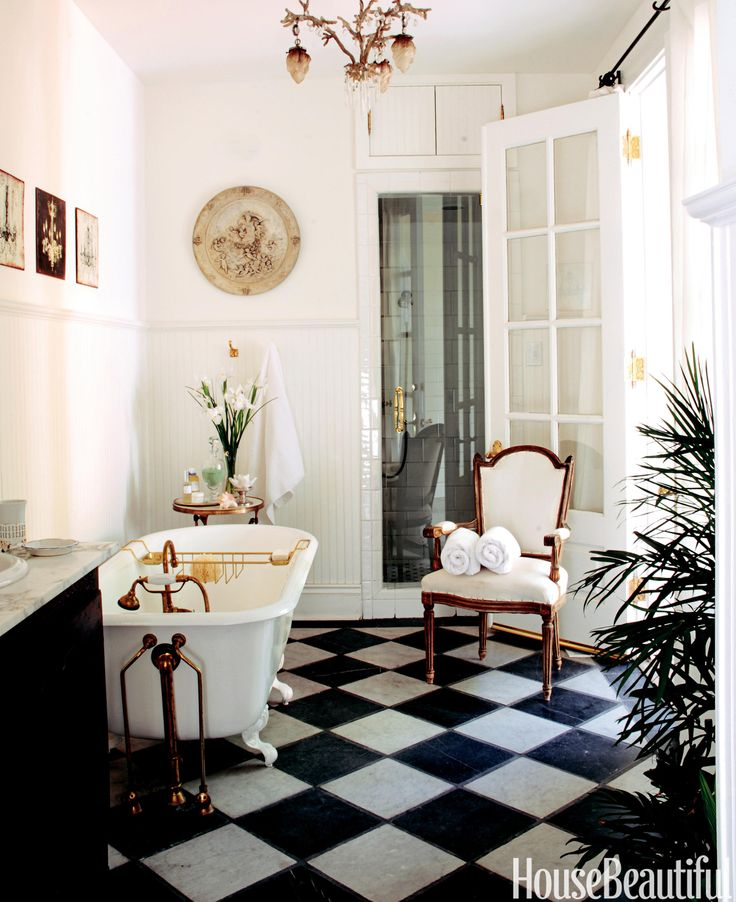 House Beautiful Bathrooms 2015: 24 Best Black & White Tile Images On Pinterest