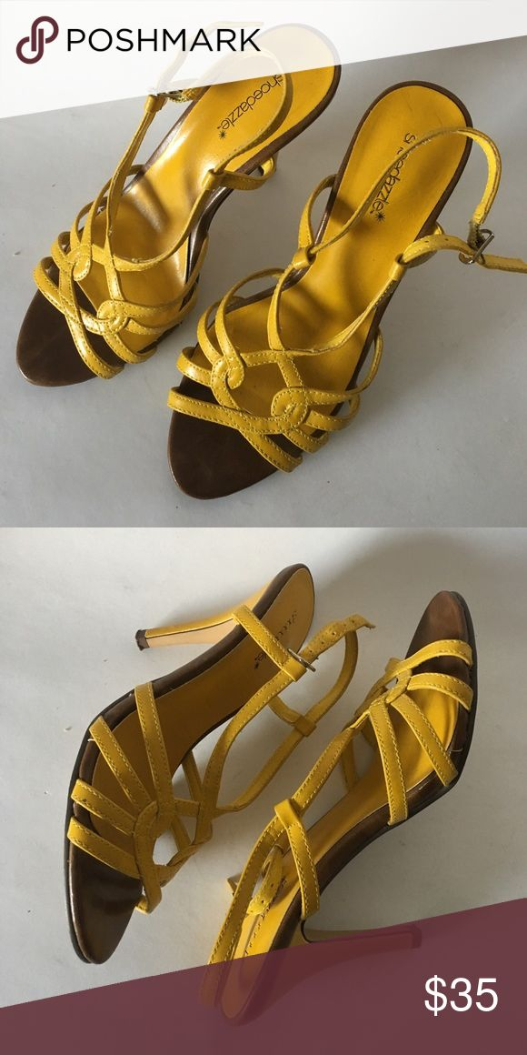 Shoedazzle 🌻 Yellow Strappy Heels! ! 6.5 Yellow Beautiful Vintage Heels! Barely Worn, Made in China. Shoe Dazzle Shoes Heels