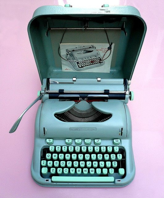 "I pinned this typewriter image to symbolize the beginning of Eva's career as a writer, which is a major event of Chapter 10. when Eva finally wakes up one morning ready to write, she describes her first sheet of white paper ""like a sheet freshly ironed for making love."""