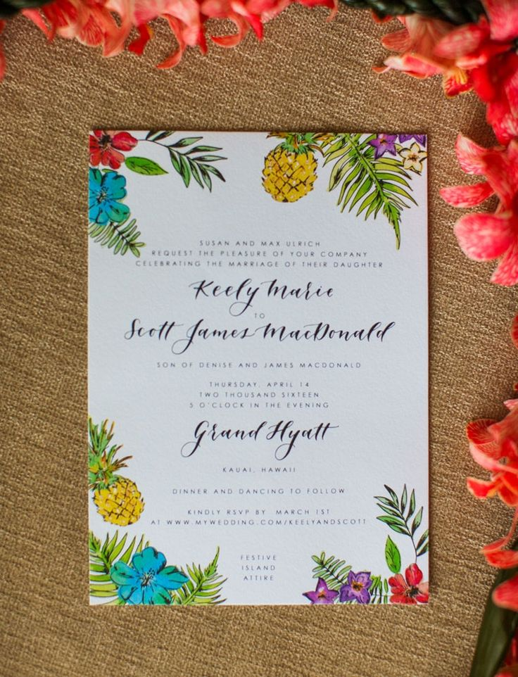 sister wedding invitation card wordings%0A Love this tropical wedding invitation  The wording on this invite is  perfect  and the
