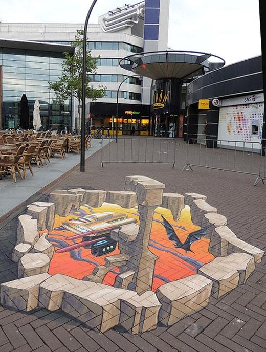 Lelystart 3D pavement art