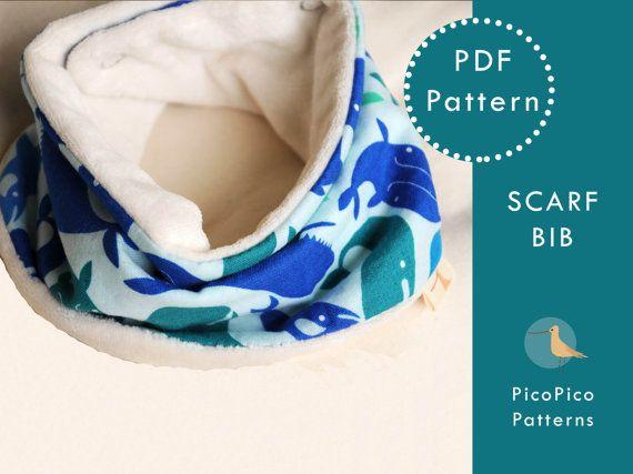 Sewing baby pattern. Scarf Bib PDF. Baby scarf by PicoPicoPatterns