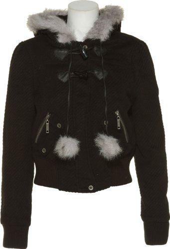 JOU JOU Twill Faux Fur Cropped Jacket W/ Hood [325-614LL] $31.95