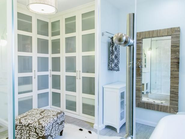 Joanna> Interesting doors  Transitional Bathrooms from Redbud Construction Services on HGTV