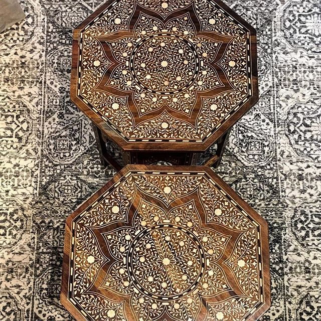 Geometric overload! Traditional Mamluk inspired hand knotted carpet [skuRH45965] and bone-inlay rosewood folding tables [sku45899]