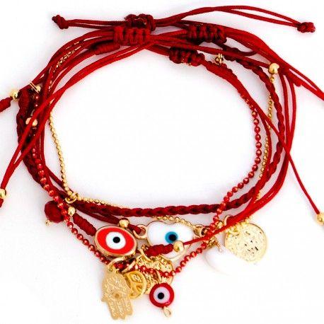 Accesorios para mujer - Espectacular set de 4 pulseras rojas de hilos elaborada a mano con diferentes dijes para el mal de ojo y la protección.