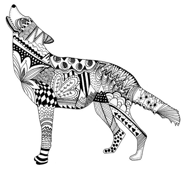Zentangle Wolf Art Print