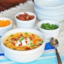 loaded bacon and cheddar baked potato soup.