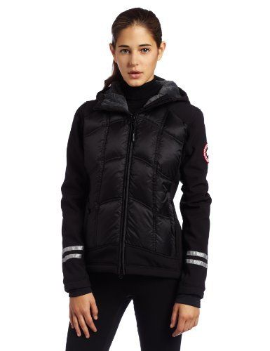 Canada Goose Ladies Hybridge Hoody by Canada Goose. $625.00. Adjustable hem; hand pockets; internal stretch pocket; grab strap; elbow articulation; 3M reflective tape. Shaped hood; high collar closure; brushed tricot collar; recessed stretch cuffs; storm flap on front zipper. Women's hooded jacket; ideal for skiing, hiking, or similar activities; slim fit; longer cut on back. Limited lifetime warranty. Polartec softshell with DWR finish; Hutterite down insulation; ...
