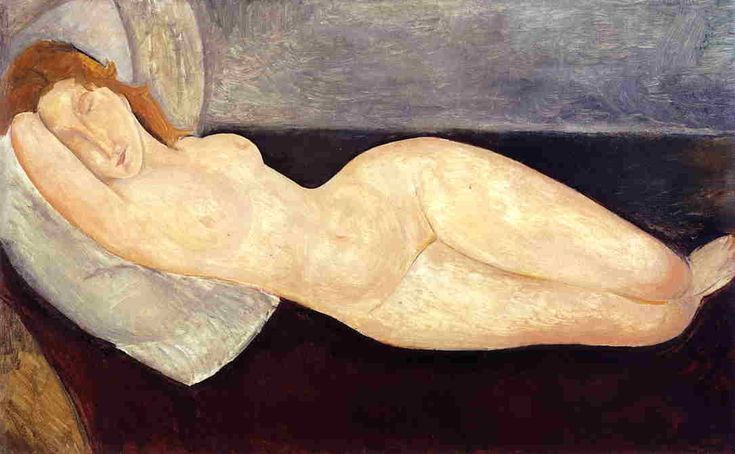 Reclining nude with head resting on right arm, 1919, Amedeo Modigliani Size: 73x116 cm Medium: oil on canvas