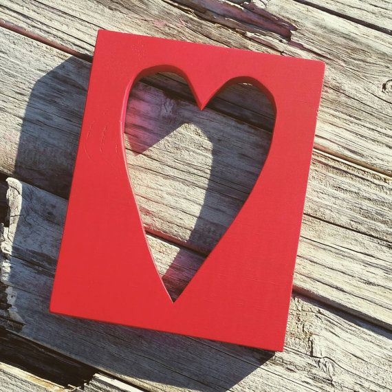 Wood Cut Out Heart Sign (Custom Colors)by TheWoodenTriangle.  $11 on Etsy