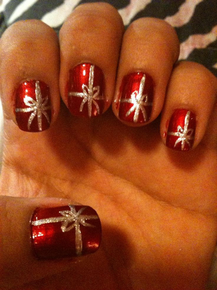 Christmas Present Nail Design A Little Sloppy And Needed Cleaned Up But Cute Christmas Nail Designs Christmas Present Nails Christmas Nails Easy