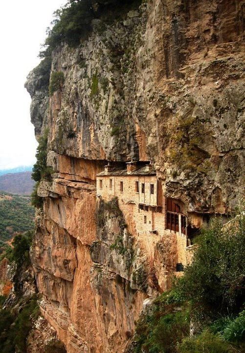Monastery of Kipina  one of the most impressive monasteries - Built within the cavity of a tall vertical rock, at Tzoumerka mountains of Epirus, Greece