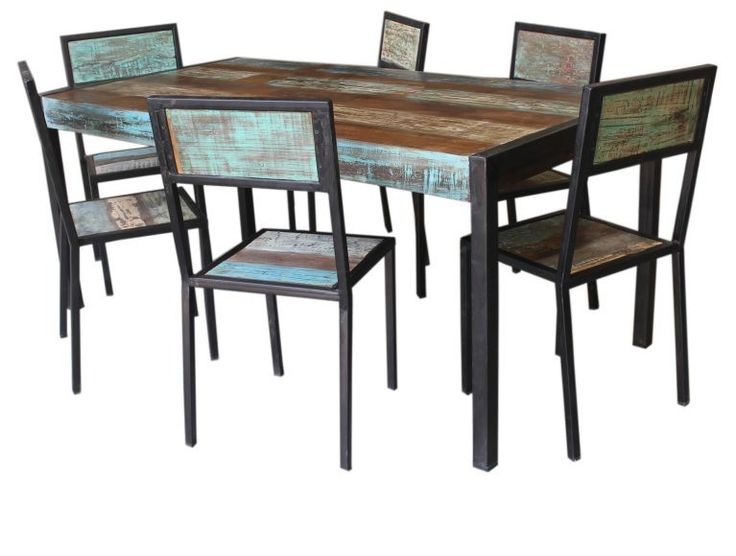 Recycled Timber and Metal Dining Table.