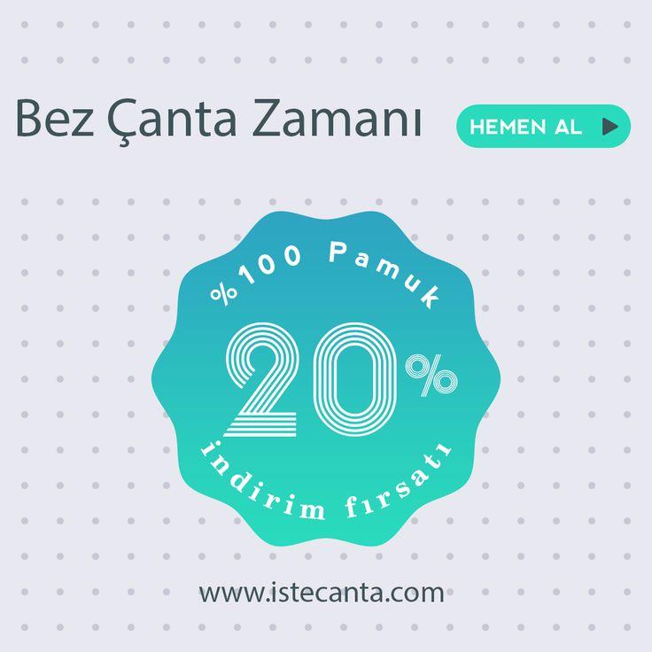 %20 indirim fırsatı devam ediyor! Kampanyadan faydalanmak için web sitemizden sipariş verebilirsiniz. #bezcanta #indirim #firsat #kampanya #pamuk #totebag