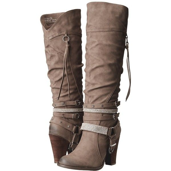 Not Rated Stacey (Taupe) Women's Boots (98845 IQD) ❤ liked on Polyvore featuring shoes, boots, knee-high boots, knee high boots, taupe bootie, slouchy knee high boots, knee high slouch boots and platform ankle boots
