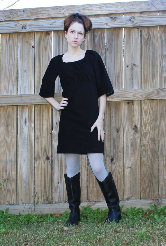 Little Black Dress Corduroy Womens Dress with by sweethomeboutique, $80.00