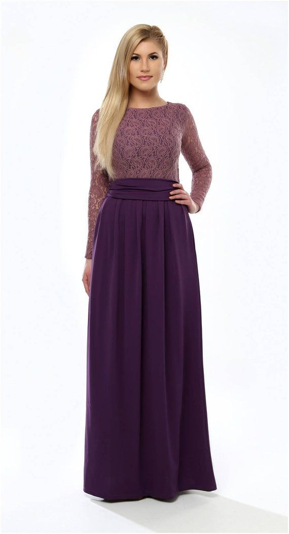 Plum Top Lace Dark Purple Dress Round Neckline Long Sleeves Lace Dress Long Long Sleeve Lace Dress Long Sleeve Evening Dresses