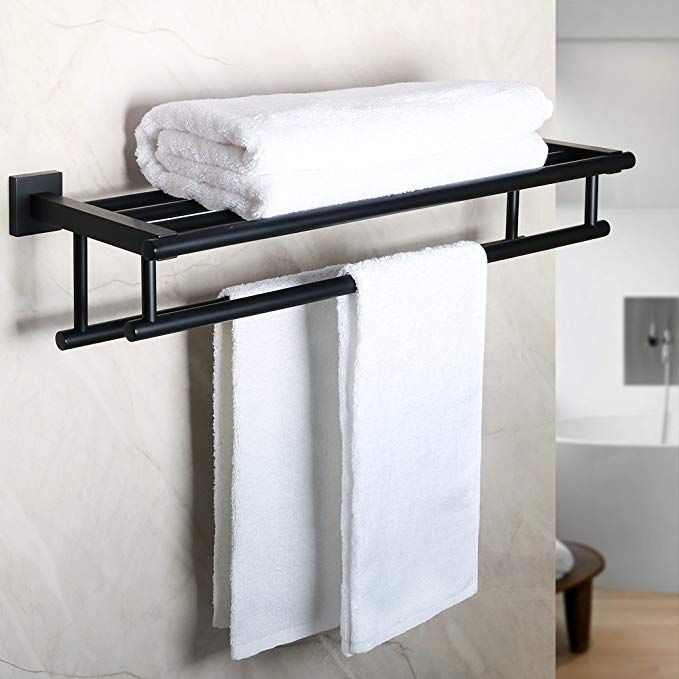24inch Double Towel Rail Rack Bar Holder Bathroom Wall Mounted Stainless Steel ~