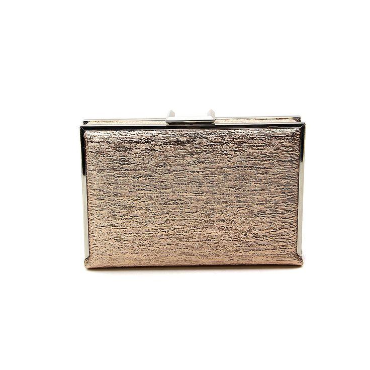 VERITA Clássico Couro PU elegante Box Evening Clutch Bag Vestido com destacável Correia Champagne  