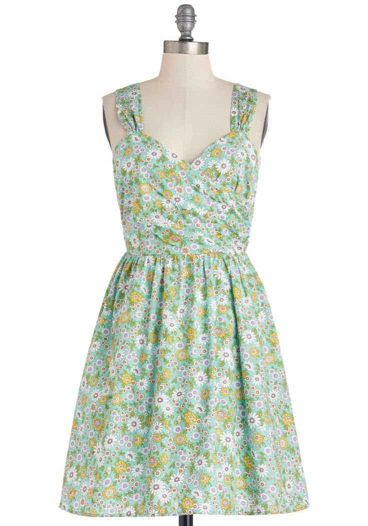 Spontaneous Celebration Dress. An evening so perfectly serene calls for an impromptu party on the patio, and for an ensemble as refreshing as this floral dress! #mint #modcloth