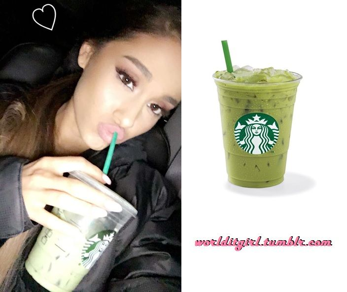 Ariana got the Iced green tea soy latte at Starbucks.