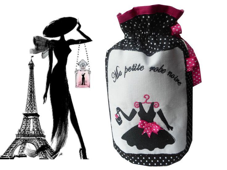 """Pochon rond shabby """"La petite robe noire"""" création miss coopecoll : Autres sacs par miss-coopecoll"""