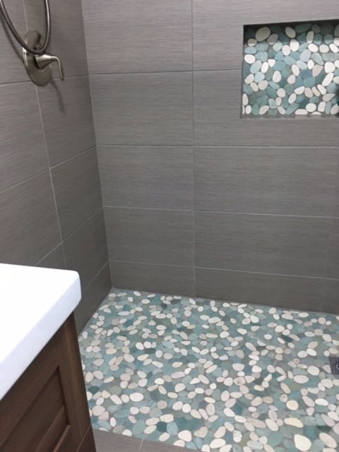 Shower Tile Ideas 542 best bathroom pebble tile and stone tile ideas images on