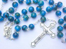 Turquoise Plastic Rosary.