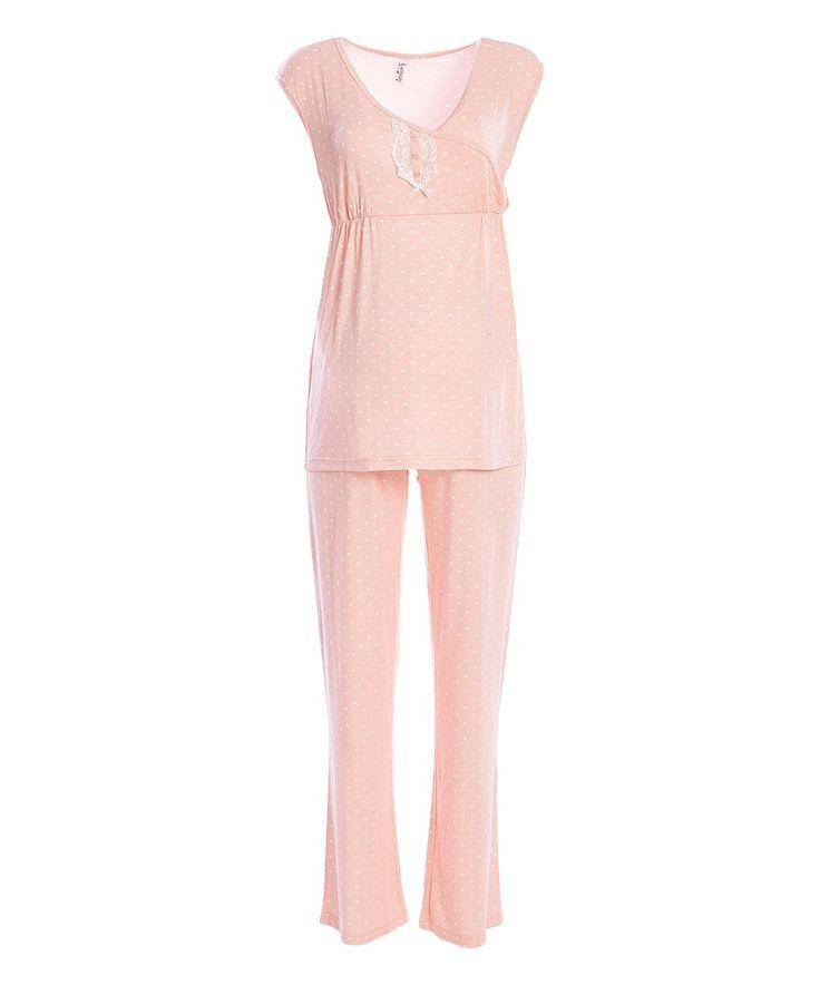 Take a look at this Grapefruit Surplice Maternity/Nursing Pajama Set today!