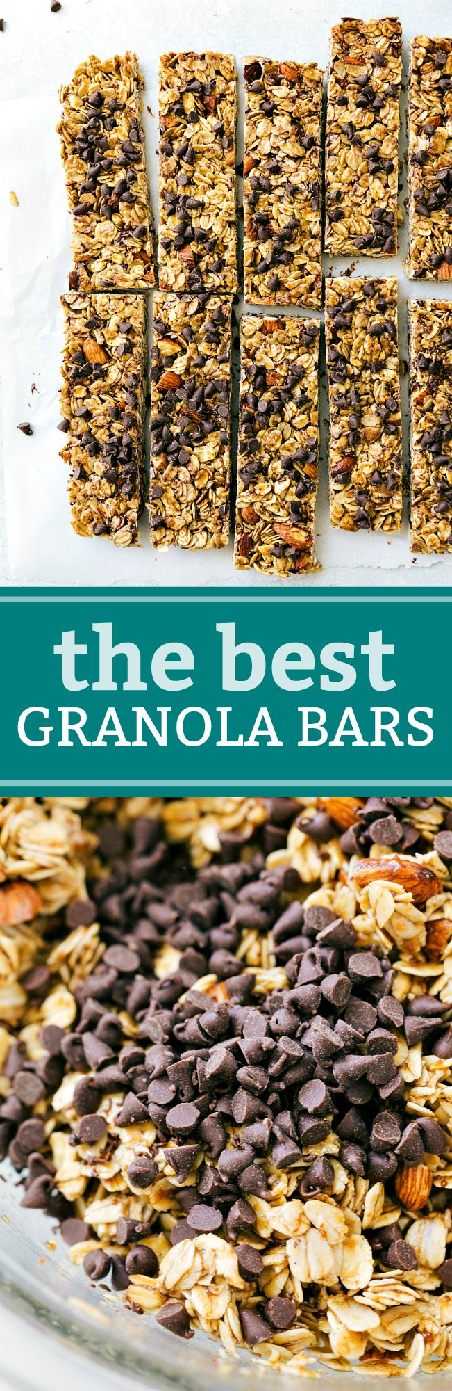Homemade granola bars made with natural sweeteners, oats, nuts, and chocolate for good measure! Recipe from chelseasmessyapron.com